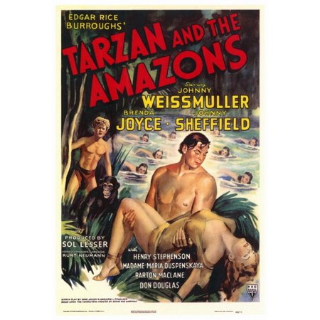 Tarzan And The Amazons Movie Poster Print  27 X 40