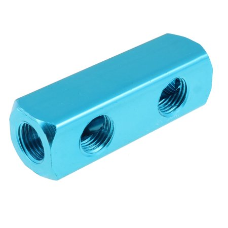 "Unique Bargains Blue 1/4""BSPT Threaded 3 In 2 Out Aluminum Air Inline Splitter Manifold Block"