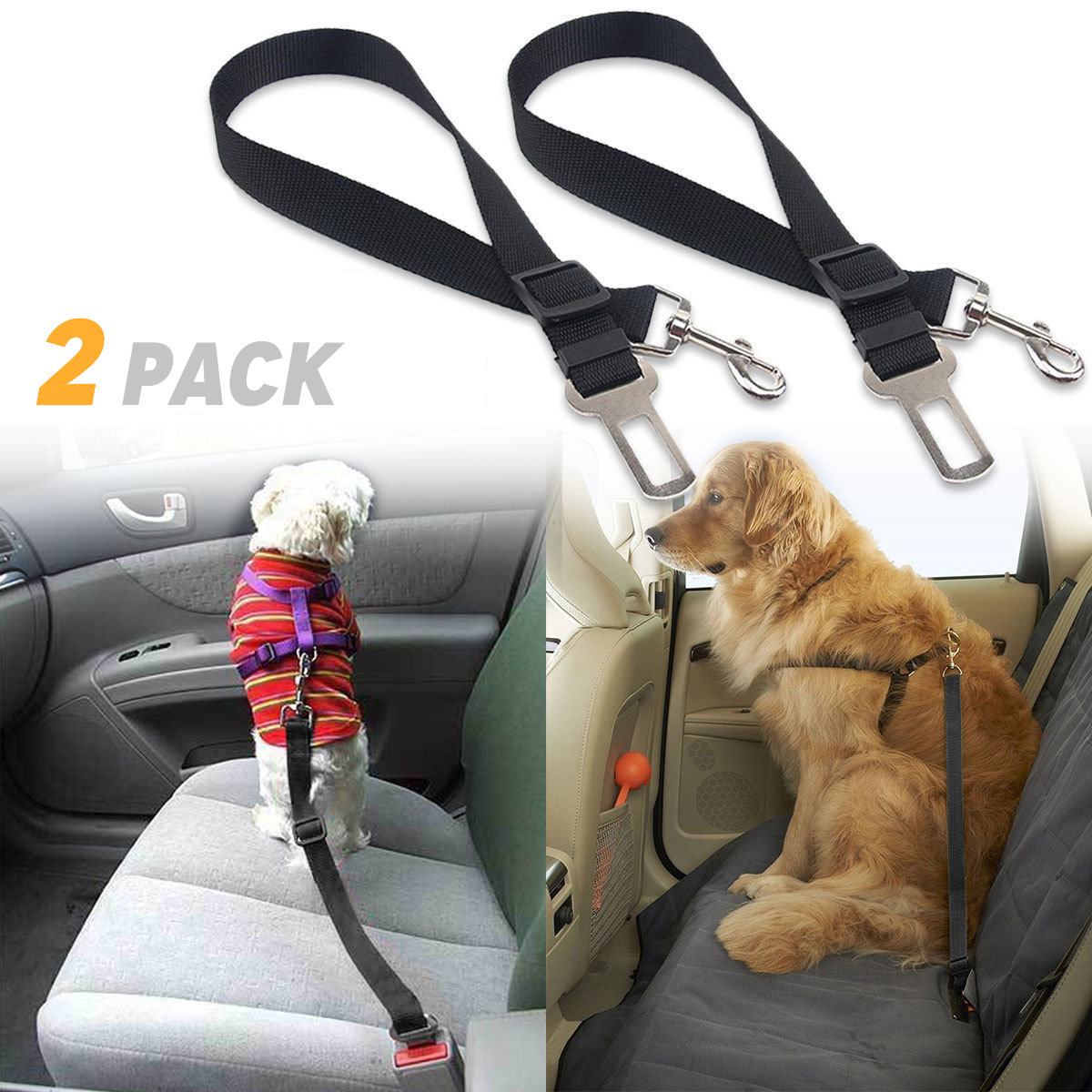 TSV 2 Packs Adjustable Pet Dog Cat Car Seat Belt Safety Leads Vehicle Seatbelt Harness, Made from Nylon Fabric