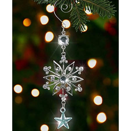 Silver Snowflake Ornament - Silver Metal and Clear Crystal Filigree Ornament - Silver Christmas Decoration - Stocking Stuffer