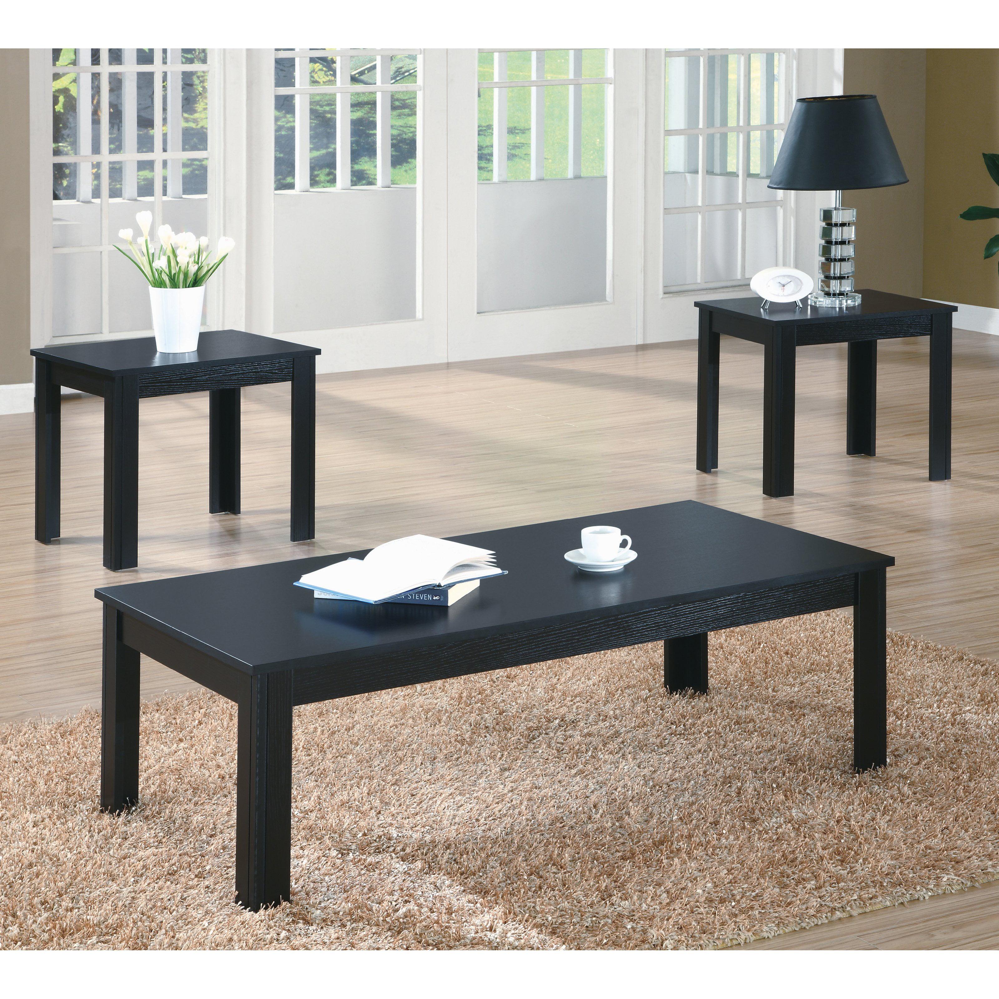 monarch specialties black 3 piece coffee table set - walmart