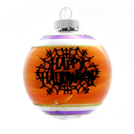 Shiny Brite HALLOWEEN DEC ROUNDS REFLECTOR. Spiders Spooky 4027670 Orange Web