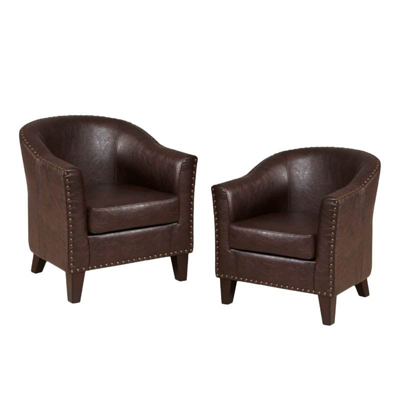 Merveilleux (Set Of 2) Faux Leather Accent Chair In Brown
