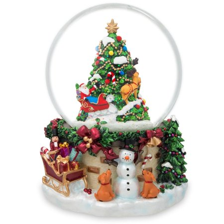 Musical Snowman Snowglobe (Snowman & Dogs Watching Santa Musical Snow Globe )