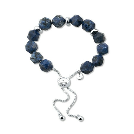 Believe by Brilliance Fine Silver Plated Genuine Sodalite Bolo Bracelet ()