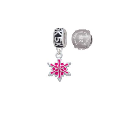 Hot Pink Snowflake with Hot Pink Crystal 5K Run She Believed She Could Charm Beads (Set of 2)](Run Disney Halloween 5k)