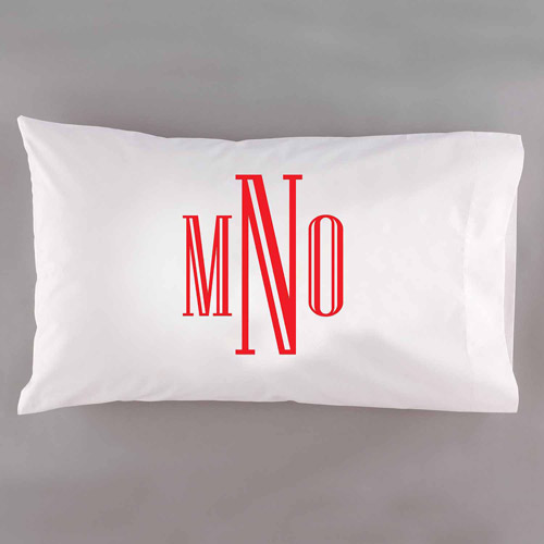 Personalized Raised Serif Monogram Pillowcase, Available in 6 Colors