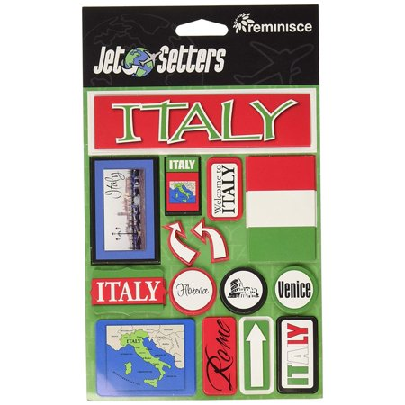 Jet Setters Self-Adhesive Epoxy Embellishments, Italy, Ideal for project works and scrapbooking By Reminisce