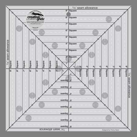 Creative Grids 9 1 2  Square It Up Or Fussy Cut Square Ruler