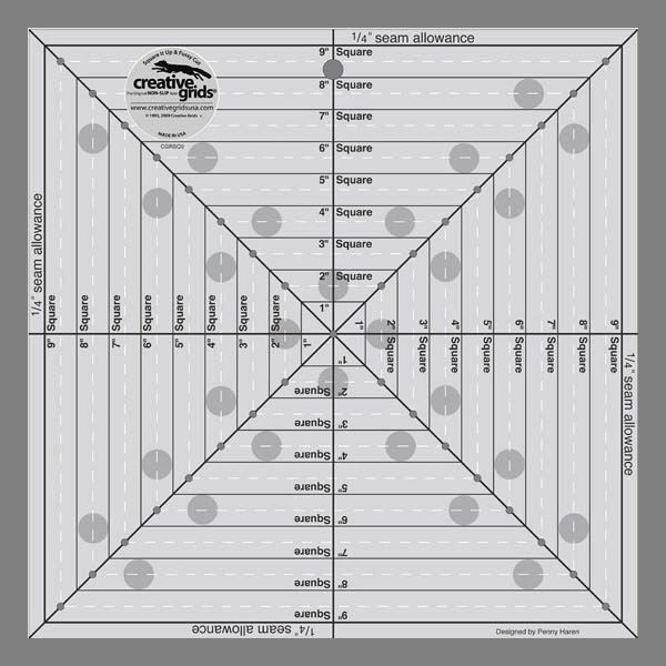 "Creative Grids 9 1/2"" Square It Up or Fussy Cut Square Ruler"