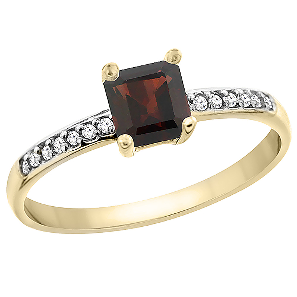 14K Yellow Gold Natural Garnet Ring Octagon 7x5 mm Diamond Accents by WorldJewels
