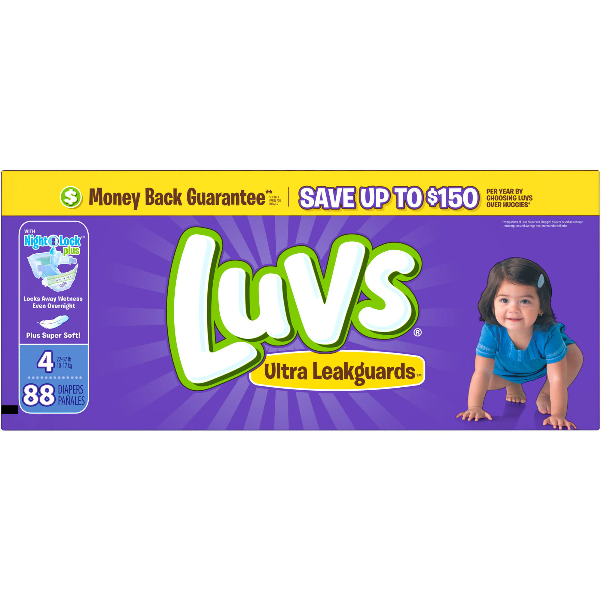 Luvs Ultra Leakguards Diapers, Size 4 (Choose Diaper Count)