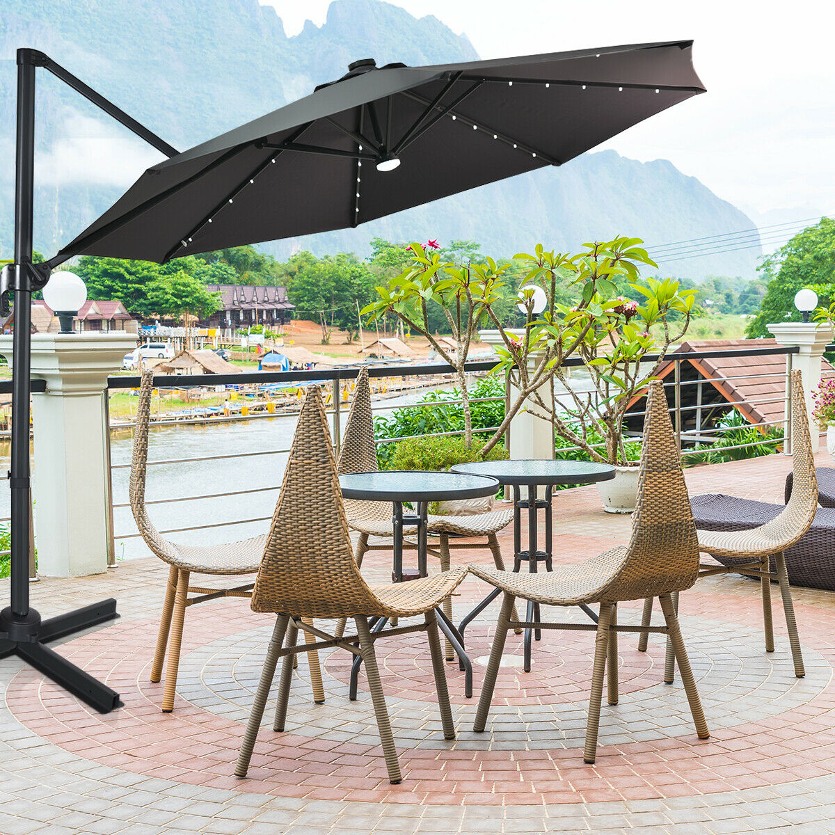 Outdoor Market Umbrella with Cross Base and Cover Tan Tangkula 10 ft Solar LED Patio Cantilever Offset Umbrella with 360 Degree Rotation Outdoor Umbrella with Center Light