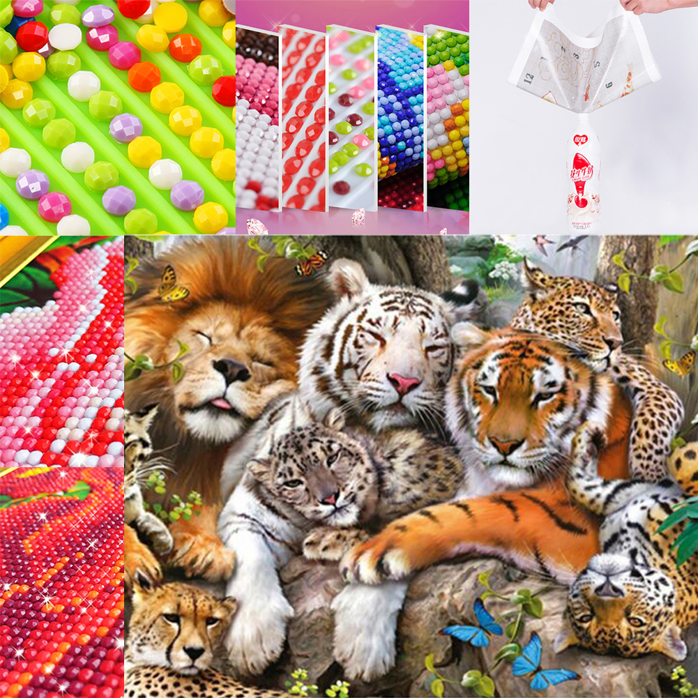 Micelec Tiger Pattern 5D DIY Diamond Embroidery Painting Home Office Room Wall Decor