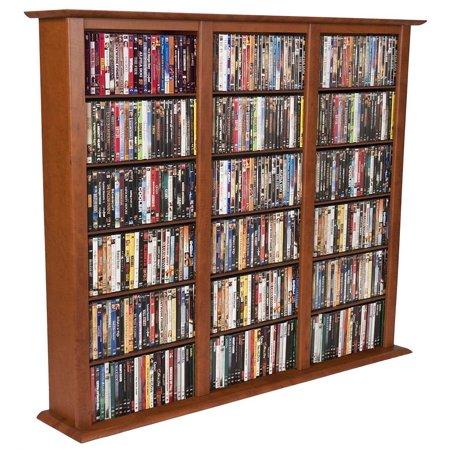 Venture Horizon Triple 50″ CD DVD Wall Media Storage Rack-Cherry