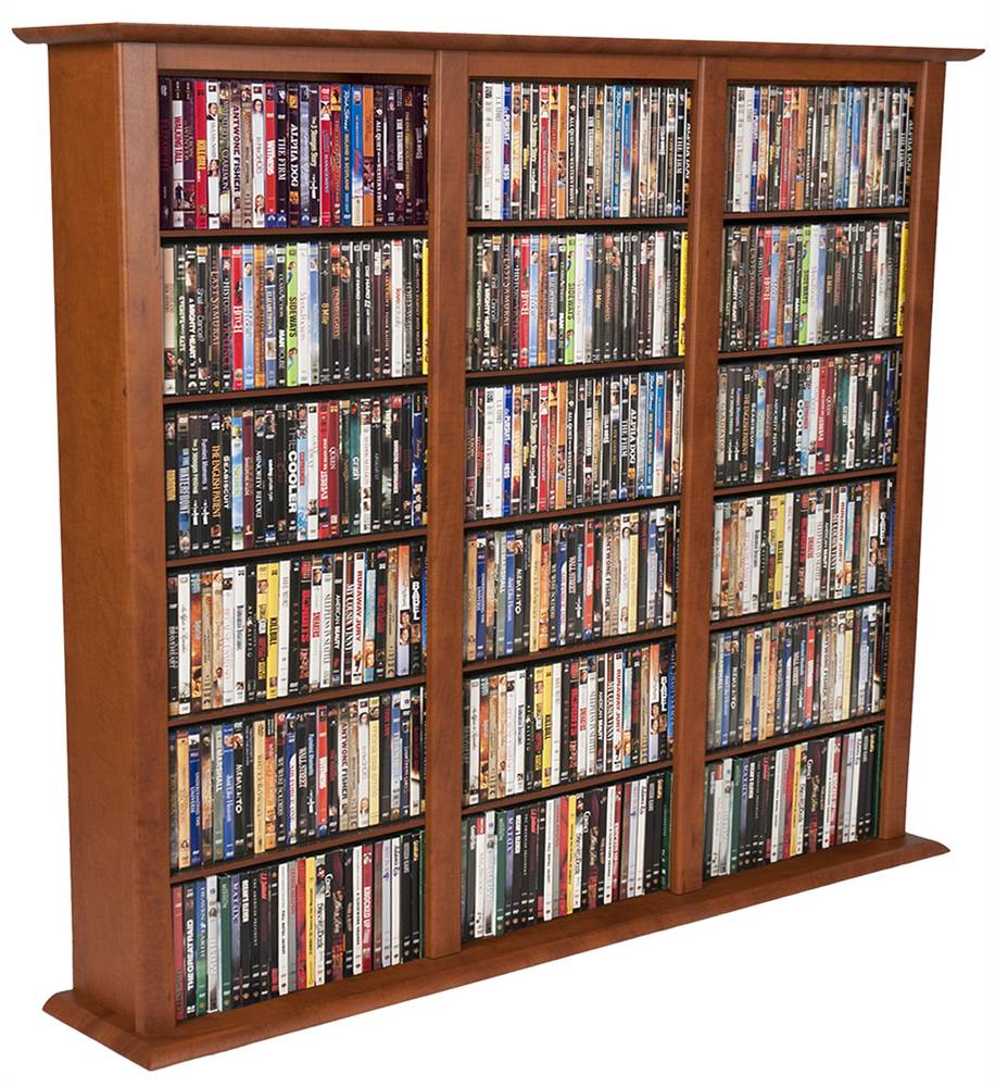 "Venture Horizon Triple 50"" CD DVD Wall Media Storage Rack-Cherry"