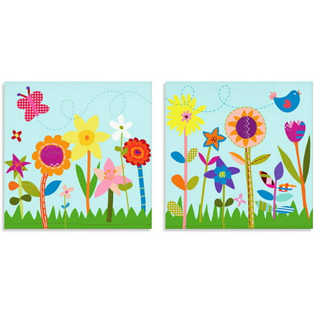 Oopsy Daisy Too Flower Garden/Butterfly Canvas Wall Art, Set of 2 ...