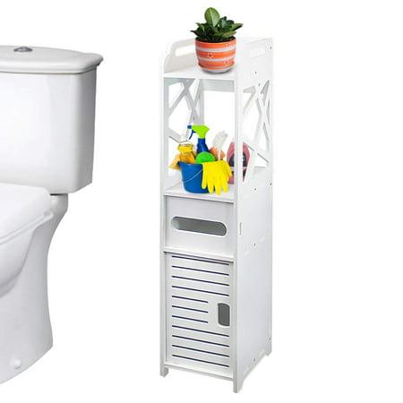 Zimtown Modern Bathroom Cabinet Storage Cupboard Wooden Slim Shelf Cupboard White New ()