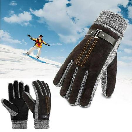 Vbiger Men Winter Gloves Warm Outdoor Gloves Full-finger Cycling Gloves Cold Weather Gloves, Brown