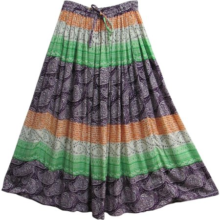 Indian Paisley Ethnic Print Gypsy Bohemian Crinkled Broomstick Long Skirt #10 ()