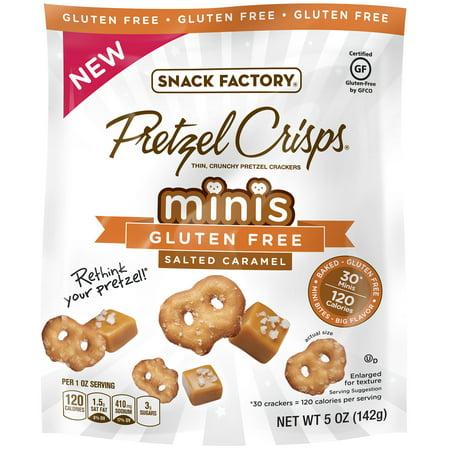 Snack Factory Pretzel Crisps Minis Gluten Free Salted Caramel  5 0 Oz