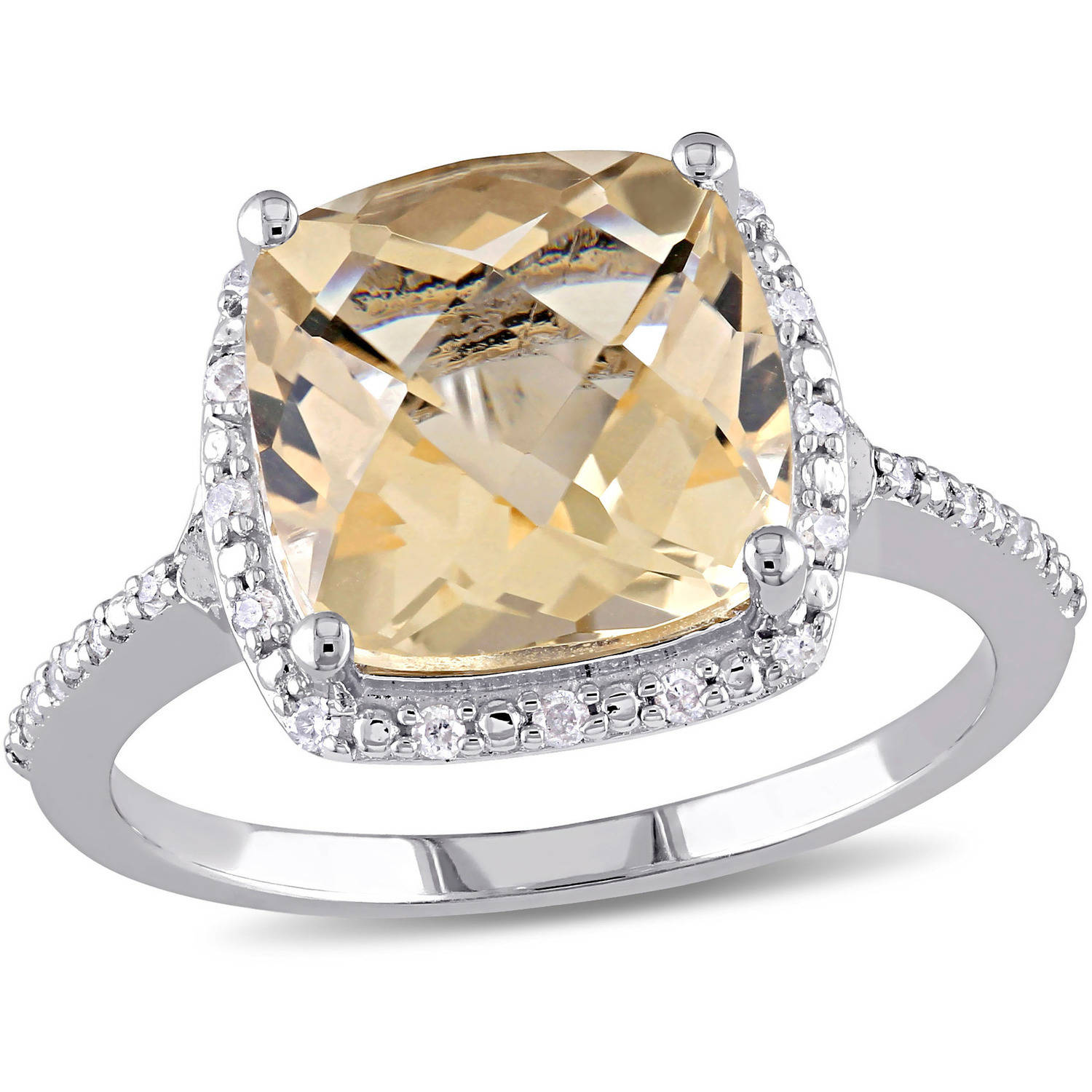 Tangelo 4 Carat T.G.W. Cushion-Cut Citrine and 1/10 Carat T.W. Diamond Sterling Silver Halo Cocktail Ring