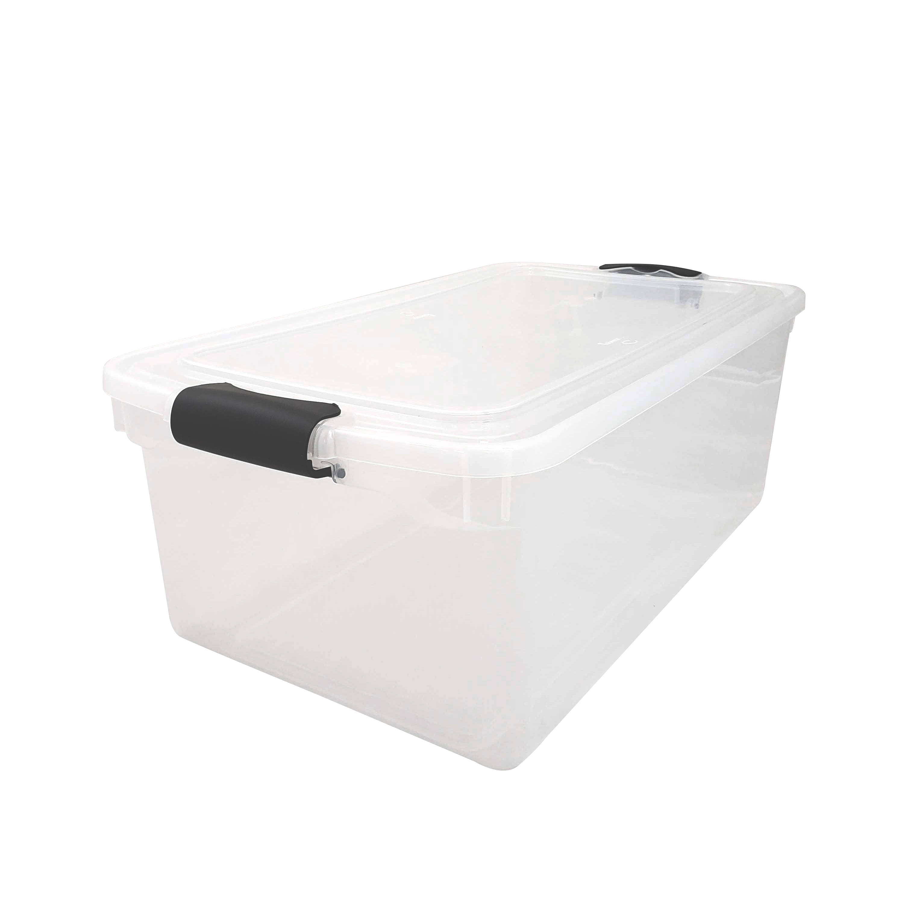 Homz 66 Qt Latching Plastic Storage Container Clear Blue Set Of 2 Walmart Com Walmart Com