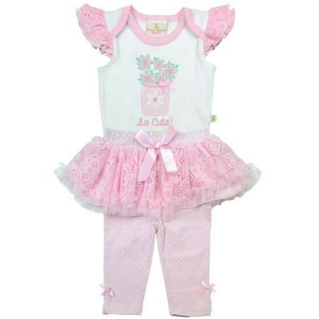 Newborn Baby Girl Bodysuit & Skegging, 2pc Outfit Set](Duck Outfit)