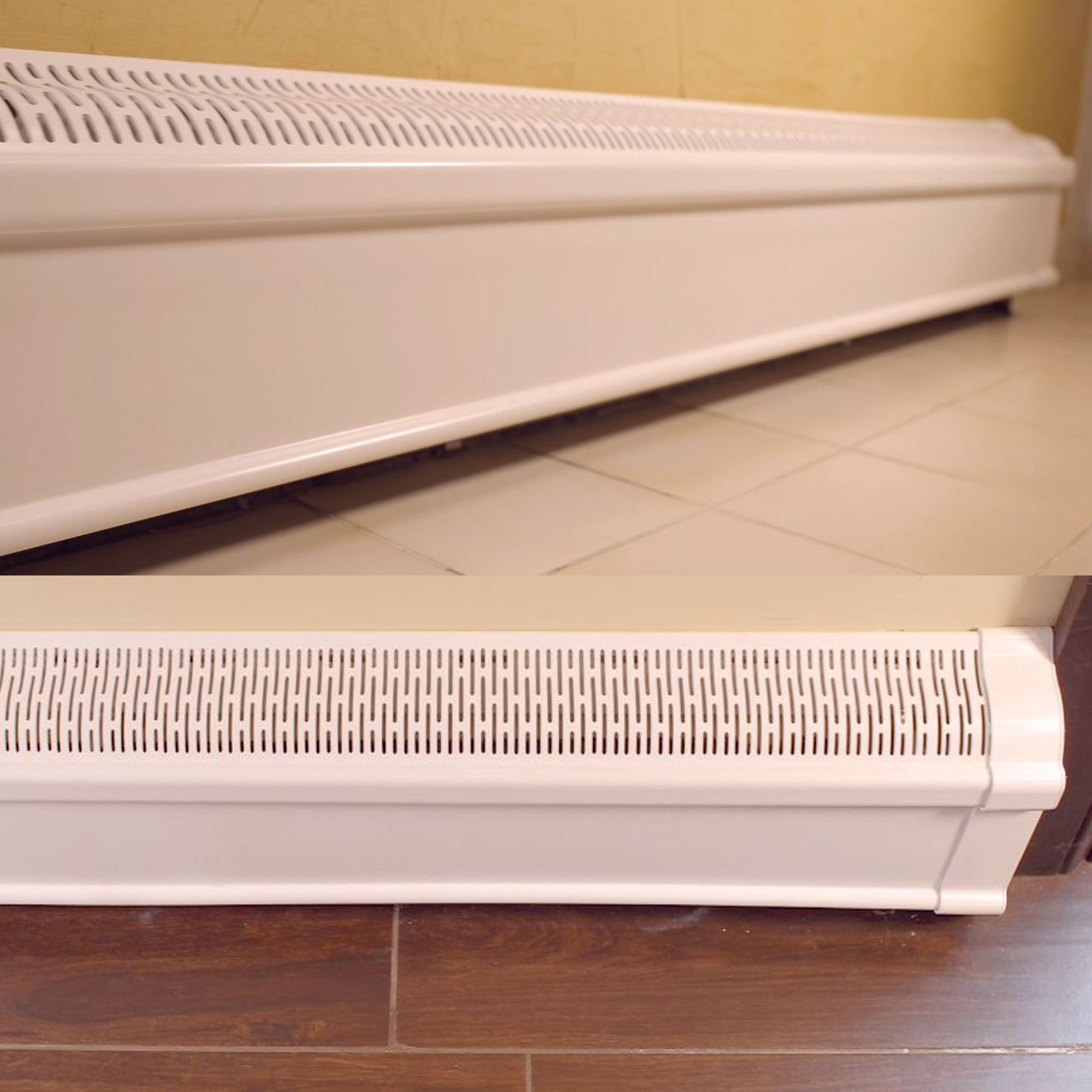 Baseboard Heat Covers COMPLETE SET - INCLUDES Right and Left End Caps | Hot Water, Hydronic Heater Baseboard Cover Enclosure Replacement Kit for Home - Rust-Proof Plastic - 2' White