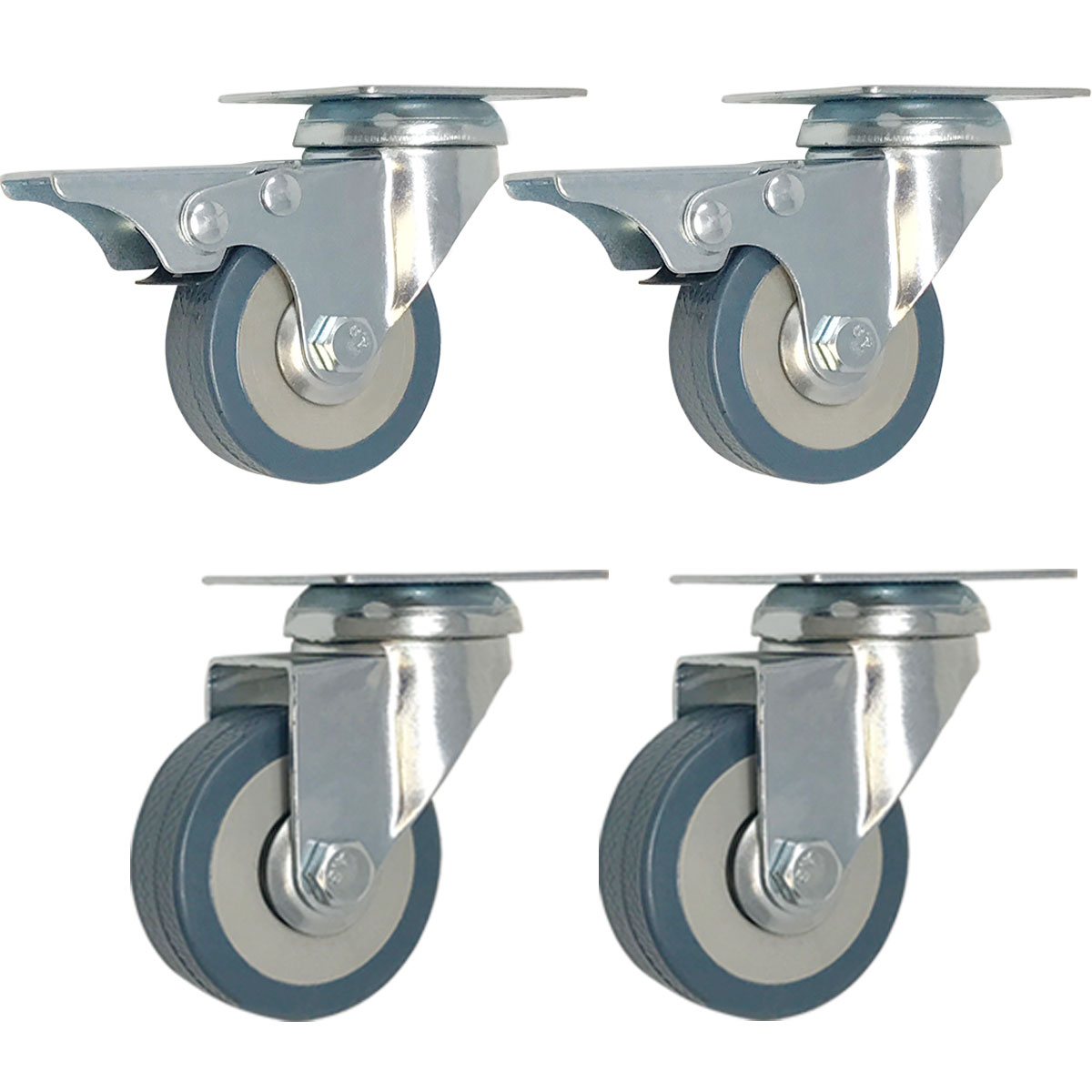 4 Pack 2 Inch Set Caster Wheels Swivel Plate Combo 2 with Brake 2 Plate Heavy Duty Polyurethane Wheels