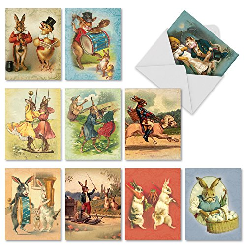 'M2345OCB FUNNY BUNNIES' 10 Assorted All Occasions Greeting Cards Featuring Adorable Vintage Style Bunnies Engaged in Playful and Musical Exploits with Envelopes by The Best Card Company