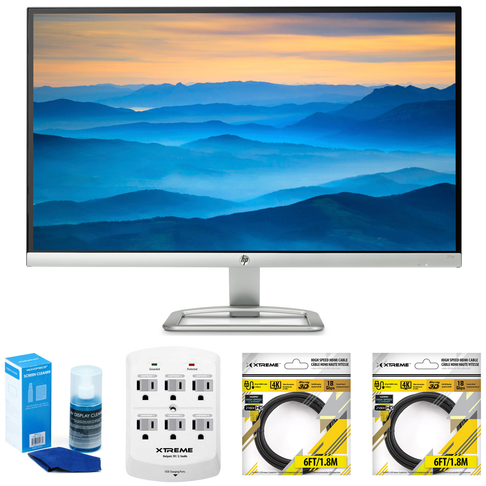 Hewlett Packard 27er 27-Inch IPS LED Backlit PC Computer Monitor (T3M88AA#ABA) with Universal Screen Cleaner for LED TVs Large Bottle, 6 Outlet Wall Tap w/ 2 USB Ports & 2x 6 ft HDMI Cable