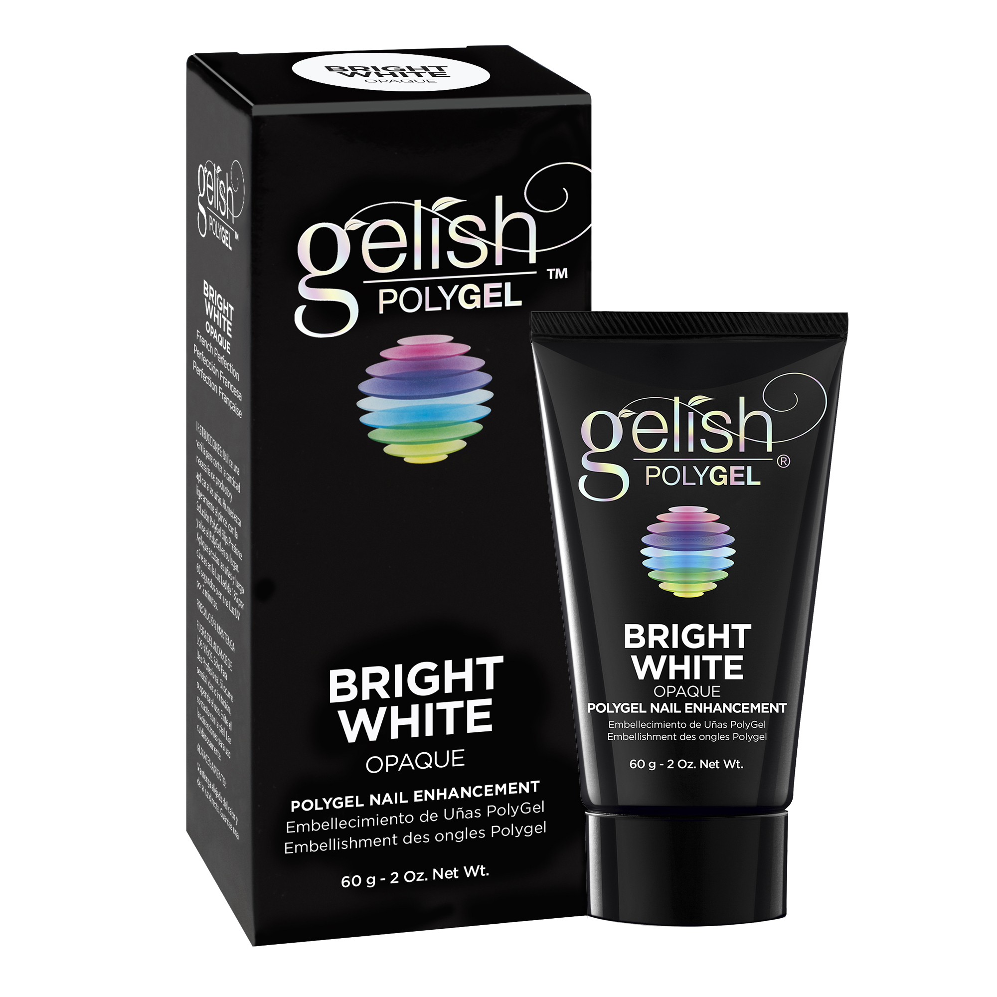 Gelish PolyGel Professional Nail Enhancement Bright White Opaque Shade, 2 Ounces