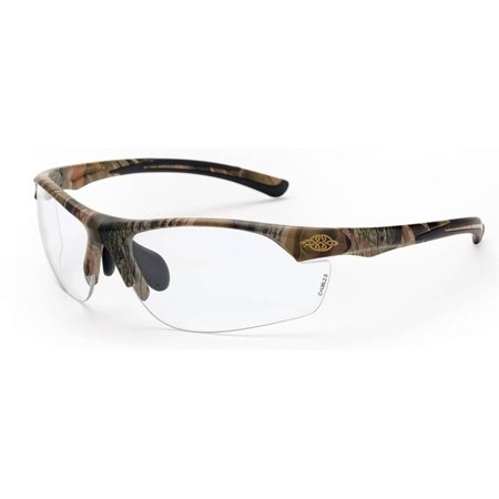 Crossfire AR3 Safety Glasses with Woodland Brown Camo and Clear Lens