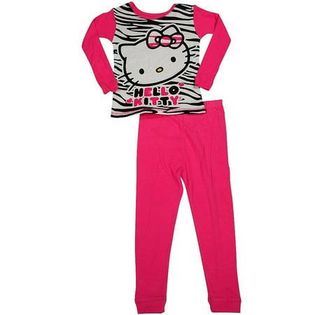 Hello Kitty - Big Girls Long Sleeve Hello Kitty Pajamas pink black zebra /