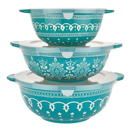 Cook's Essentials Savannah 3-Pc Ceramic Bowls with Lids Model H211392 ()