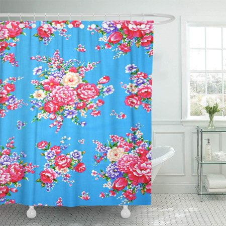 - PKNMT Floral Traditional Chinese in Red and Colors Silk Knit Flower Oriental Eastern Dress Shower Curtain Bath Curtain 66x72 inch