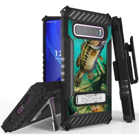 Tri-Shield [HUNTER SERIES] Rugged Case Metal Kickstand Cover + Belt Clip Holster [PREY DESIGN] for Samsung Galaxy S10 Phone (SM-G973)