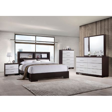 Classic Dual Color White & Dark Brown Beautiful 4pc Bedroom Set Eastern King Size Bed w shelf space Headboard Dresser Mirror Nightstand ()
