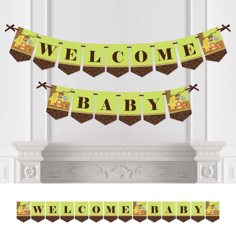 Funfari - Fun Safari Jungle - Baby Shower Bunting Banner - Jungle Party Decorations - Welcome Baby