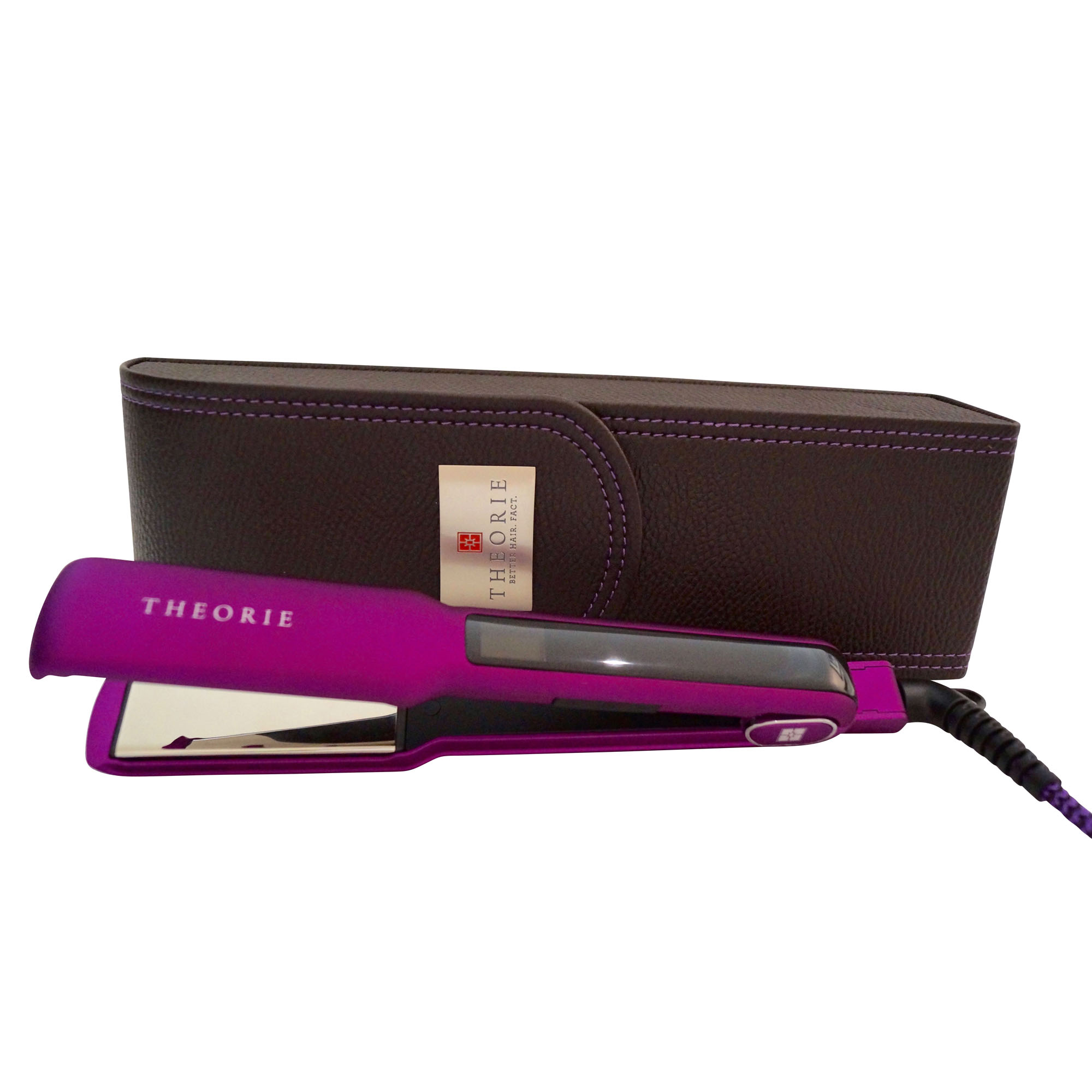 "Theorie Saga Classic Titanium Flat Iron Purple with Brown Leather Case, 1 1/2"""
