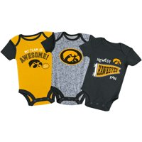 Newborn & Infant Russell Athletic Black/Gold/Heathered Gray Iowa Hawkeyes 3-Pack Team Bodysuit Set