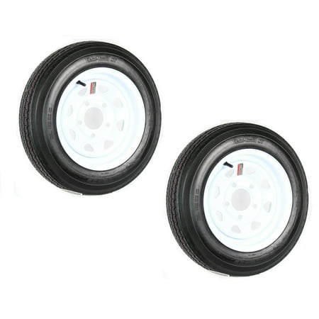 2-Pack eCustomrim Trailer Tire On Rim 4.80-12 Load C 5 Lug White Spoke 30660