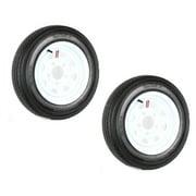 2-Pk Trailer Tire On Rim 480-12 4.80-12 12 LRB 5 Hole White Spoke Wheel Stripe
