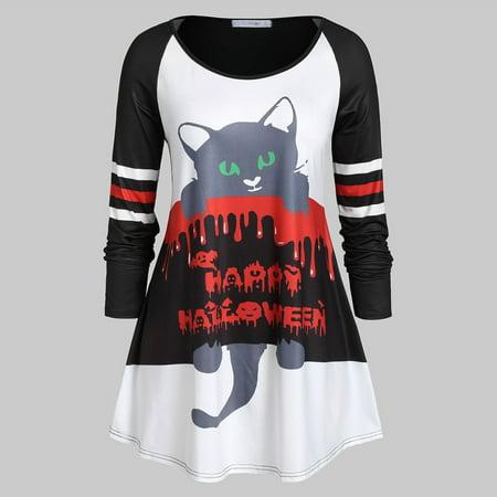 Loose Women Halloween (Fashion personality Women Casual Loose Long Sleeve Halloween Cat Print O-Neck)