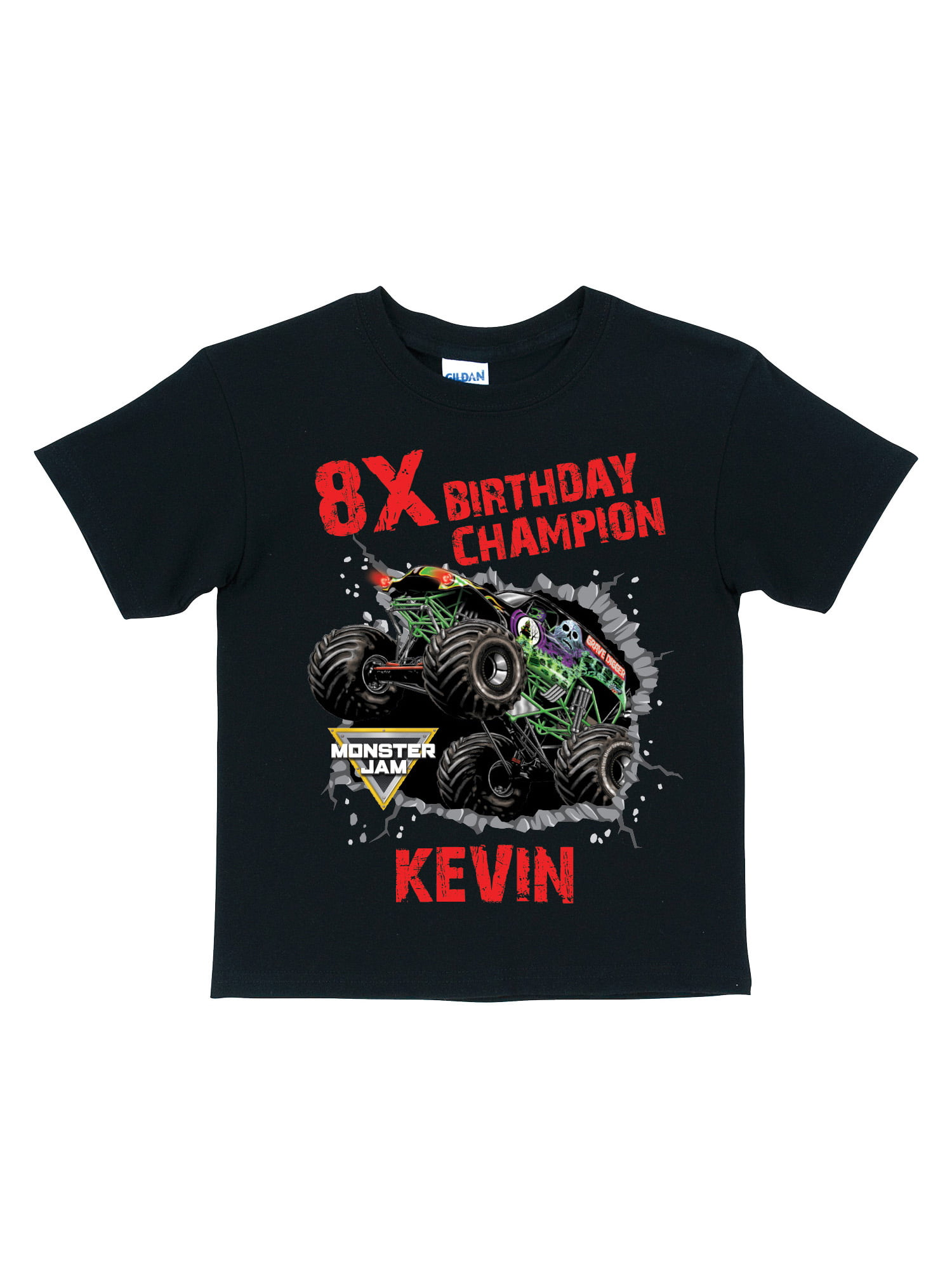 Personalized Monster Jam Black Toddler T Shirt