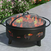 Regal Flame Outdoor Wild Bear Steel Wood Burning Fire Pit