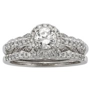 Sofia  14k White Gold 1ct TDW IGL Certified Round-cut Diamond Bridal Ring Set