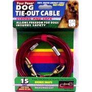 Four Paws 100203877 Medium Weight Dog Tie-Out Cable, 15 feet Length, 950 lb