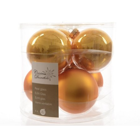 6Ct Luxury Lodge Glass Golden Orange 2 Finish Christmas Ball Ornaments 3 25    80Mm